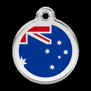 Médaille à graver pour chiens et chats Red Dingo - Drapeau Australien - Taille L - Ref. Red Dingo : 01-AU-DB-LG