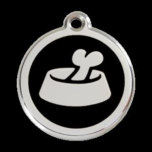 Médaille à graver pour chiens et chats Red Dingo - Os Dans Un Bol - Noir - Taille L - Ref. Red Dingo : 01-BB-BB-LG