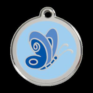 Médaille à graver pour chiens et chats Red Dingo - Papillon Bleu - Taille L - Ref. Red Dingo : 01-BL-LB-LG