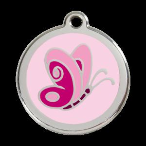 Médaille à graver pour chiens et chats Red Dingo - Papillon Rose - Taille L - Ref. Red Dingo : 01-BP-PK-LG