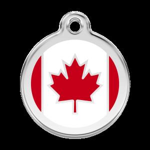 Médaille à graver pour chiens et chats Red Dingo - Drapeau Canadien - Taille L - Ref. Red Dingo : 01-CA-RE-LG