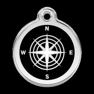 Médaille à graver pour chiens et chats Red Dingo - Boussole - Taille L - Ref. Red Dingo : 01-CM-BB-LG