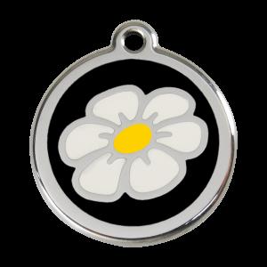 Médaille à graver pour chiens et chats Red Dingo - Marguerite - Noir - Taille L - Ref. Red Dingo : 01-DA-BB-LG