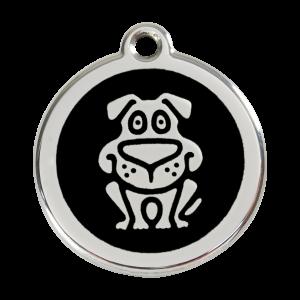 Médaille à graver - Chien - Noir - Taille L - Ref. Red Dingo : 01-DG-BB-LG