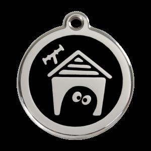 Médaille à graver - Niche Pour Chien - Noir - Taille L - Ref. Red Dingo : 01-DH-BB-LG