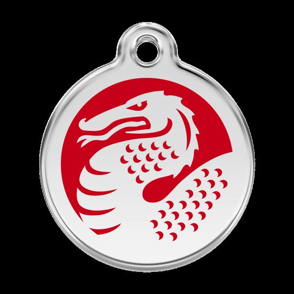 Médaille à graver pour chiens et chats Red Dingo - Dragon - Taille L - Ref. Red Dingo : 01-DR-RE-LG