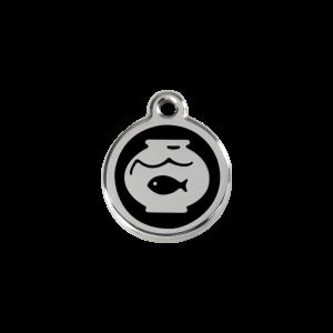 Médaille à graver - poisson En Bocal - Noir - Taille S - Ref. Red Dingo : 01-FB-BB-SM