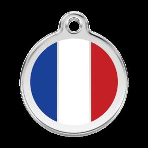 Médaille à graver - Drapeau Français - Taille L - Ref. Red Dingo : 01-FR-WT-LG
