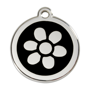 Médaille à graver - Fleur - Noir - Taille L - Ref. Red Dingo : 01-FW-BB-LG