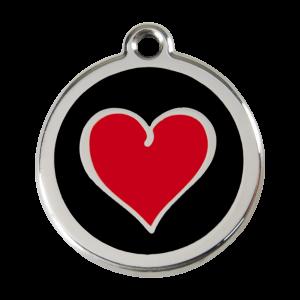 Médaille à graver - Coeur Coloré Noir - Taille L - Ref. Red Dingo : 01-HB-BB-LG