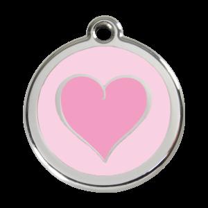 Médaille à graver - Coeur Coloré Rose - Taille L - Ref. Red Dingo : 01-HK-PK-LG