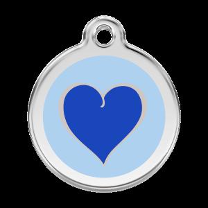 Médaille à graver - Coeur Coloré Marine - Taille L - Ref. Red Dingo : 01-HN-DB-LG