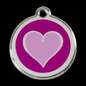 Médaille à graver - Coeur Coloré - Taille L - Ref. Red Dingo : 01-HP-PU-LG