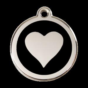 Médaille à graver - Coeur - Noir - Taille L - Ref. Red Dingo : 01-HT-BB-LG