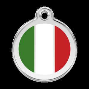 Médaille à graver pour chiens et chats Red Dingo - Drapeau Italien - Taille L - Ref. Red Dingo : 01-IT-WT-LG