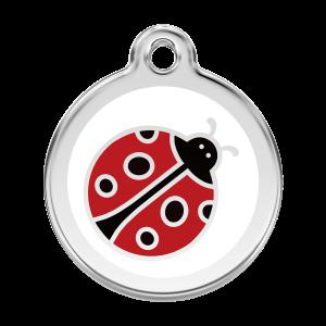 Médaille à graver pour chiens et chats Red Dingo - Coccinelle - Taille L - Ref. Red Dingo : 01-LB-WT-LG