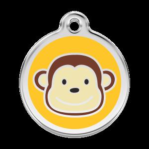 Médaille à graver pour chiens et chats Red Dingo - Étiquette De Singe - Taille L - Ref. Red Dingo : 01-MK-YE-LG