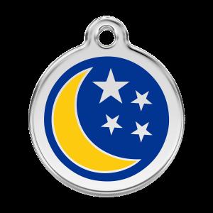 Médaille à graver pour chiens et chats Red Dingo - Lune Et Étoiles - Taille L - Ref. Red Dingo : 01-MN-DB-LG