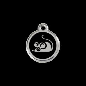 Médaille à graver pour chiens et chats Red Dingo - Souris - Noir - Taille S - Ref. Red Dingo : 01-MS-BB-SM
