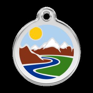 Médaille à graver pour chiens et chats Red Dingo - Montagnes - Taille L - Ref. Red Dingo : 01-MT-LB-LG