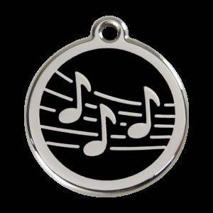 Médaille à graver pour chiens et chats Red Dingo - Notes De Musique - Noir - Taille L - Ref. Red Dingo : 01-MU-BB-LG