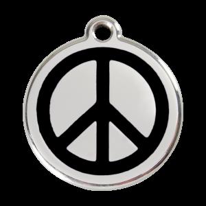 Médaille à graver pour chiens et chats Red Dingo - Peace & Love - Noir - Taille L - Ref. Red Dingo : 01-PC-BB-LG