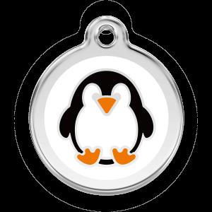 Médaille à graver pour chiens et chats Red Dingo - Étiquette De Pingouin - Taille L - Ref. Red Dingo : 01-PE-WT-LG