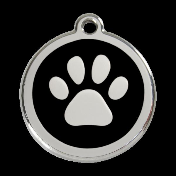 Médaille à graver pour chiens et chats Red Dingo - Empreinte De Patte - Noir - Taille L - Ref. Red Dingo : 01-PP-BB-LG