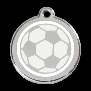 Médaille à graver pour chiens et chats Red Dingo - Ballon De Football - Taille L - Ref. Red Dingo : 01-SB-WT-LG