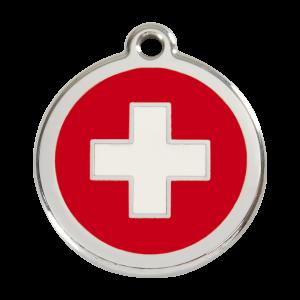 Médaille à graver pour chiens et chats Red Dingo - Croix Suisse - Taille L - Ref. Red Dingo : 01-SC-RE-LG