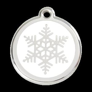 Médaille à graver pour chiens et chats Red Dingo - Flocon De Neige - Taille L - Ref. Red Dingo : 01-SF-WT-LG