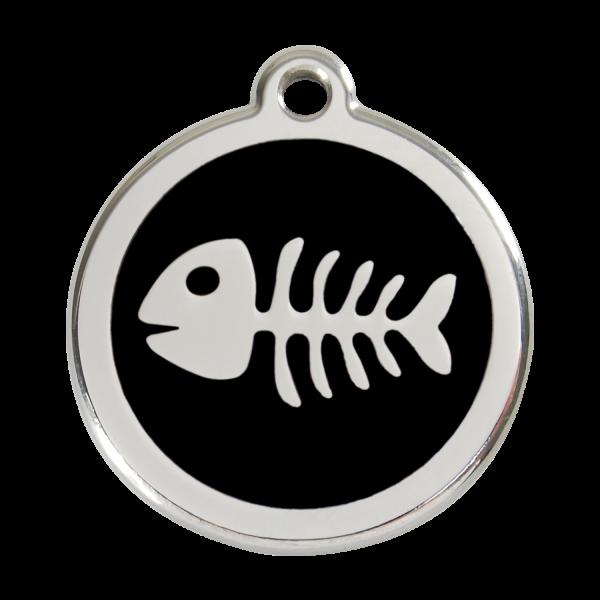 Médaille à graver pour chiens et chats Red Dingo - Squelette De Poisson - Noir - Taille L - Ref. Red Dingo : 01-SK-BB-LG