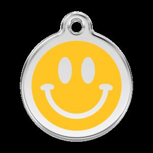 Médaille à graver pour chiens et chats Red Dingo - Smiley - Taille L - Ref. Red Dingo : 01-SM-YE-LG