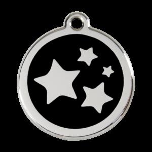 Médaille à graver pour chiens et chats Red Dingo - Étoile - Noir - Taille L - Ref. Red Dingo : 01-ST-BB-LG