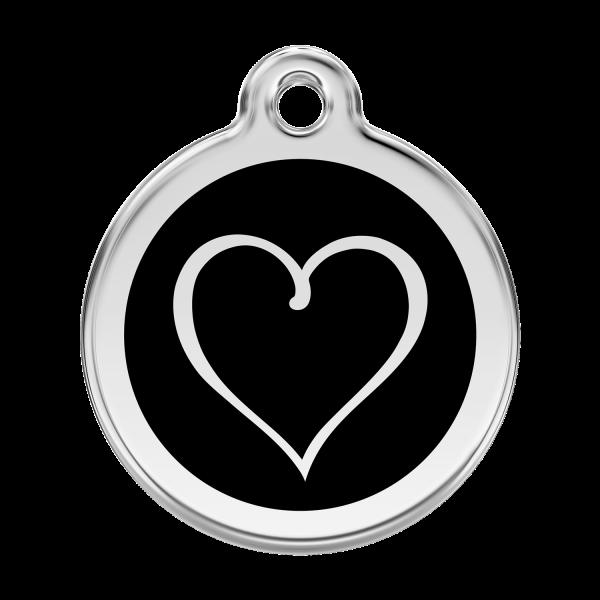 Médaille à graver pour chiens et chats Red Dingo - Coeur Tribal - Noir - Taille L - Ref. Red Dingo : 01-TH-BB-LG