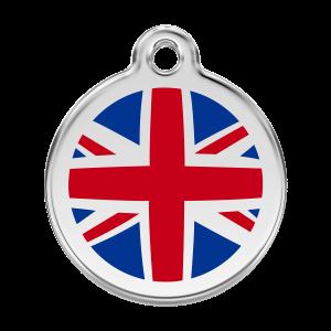 Médaille à graver pour chiens et chats Red Dingo - Drapeau Britannique - Taille L - Ref. Red Dingo : 01-UK-DB-LG