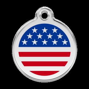 Médaille à graver pour chiens et chats Red Dingo - Drapeau Américain - Taille L - Ref. Red Dingo : 01-US-DB-LG