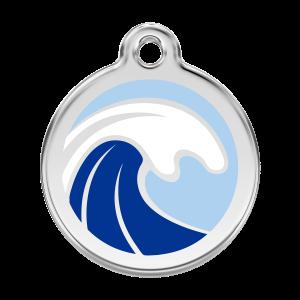 Médaille à graver pour chiens et chats Red Dingo - Vague - Taille L - Ref. Red Dingo : 01-WA-LB-LG