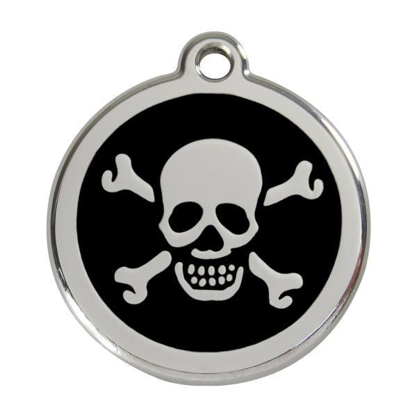 Médaille à graver pour chiens et chats Red Dingo - Tête De Mort - Noir - Taille L - Ref. Red Dingo : 01-XB-BB-LG