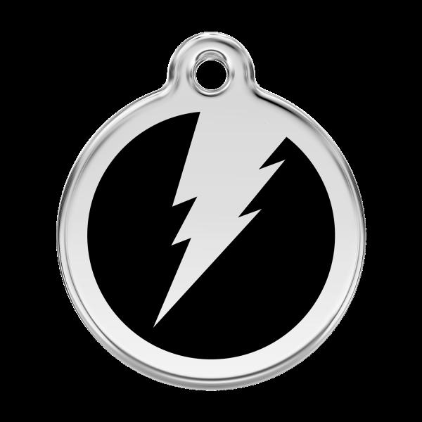Médaille à graver pour chiens et chats Red Dingo - Éclair - Noir - Taille L - Ref. Red Dingo : 01-ZF-BB-LG