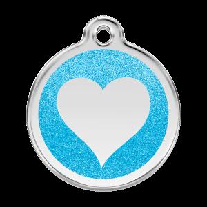 Médaille à graver pour chiens et chats Red Dingo - Coeur Scintillant - Aqua - Taille L - Ref. Red Dingo : 0X-HT-AQ-LG