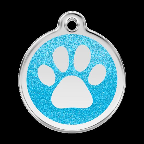 Médaille à graver pour chiens et chats Red Dingo - Empreinte De Patte Pailletée - Aqua - Taille L - Ref. Red Dingo : 0X-PP-AQ-LG