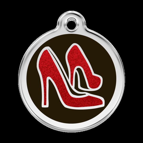 Médaille à graver pour chiens et chats Red Dingo - Chaussure Rouge Pailletée - Taille L - Ref. Red Dingo : 0X-RS-BB-LG