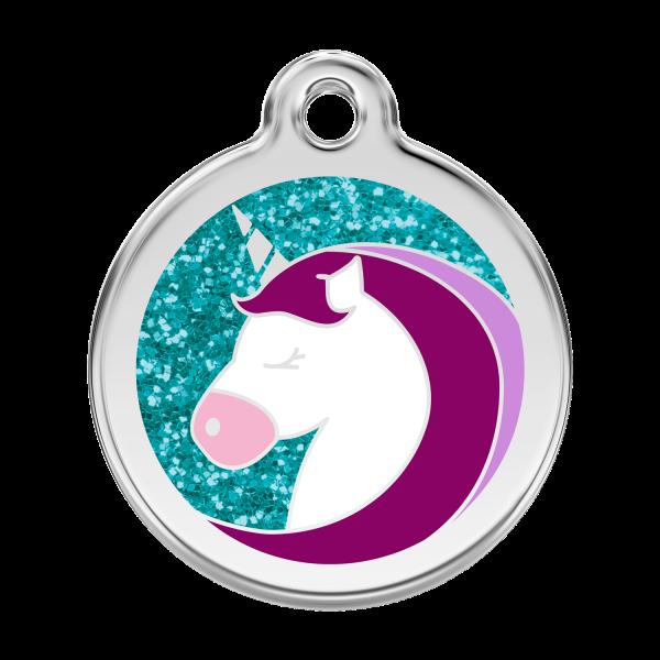 Médaille à graver pour chiens et chats Red Dingo - Licorne Scintillante - Taille L - Ref. Red Dingo : 0X-UC-AQ-LG